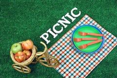 Weißes Zeichen-Picknick auf Rasen, Platten und Weidenfahrrad-Korb Lizenzfreie Stockbilder