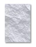 Weißes zerknittertes Papier auf dem weißen Hintergrund getrennt Stockbild
