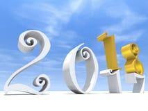 weißes Zusammenfassungsfeiertagssymbol des gelbes Gold 2018 stock abbildung