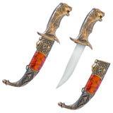 Weißhintergrund mit drei Messern stockfotografie