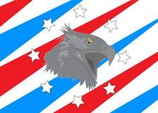 Weißkopfseeadler USA-amerikanischer Flagge spielt Streifen die Hauptrolle Lizenzfreie Stockfotografie