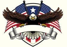 Weißkopfseeadlerdesign, welches das leere Band mit USA-Flaggen hält stock abbildung