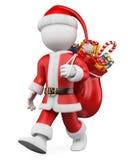 Weißleute des Weihnachten 3D. Weihnachtsmanngehen Lizenzfreies Stockfoto