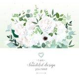 Weißrose, Ranunculus, Hortensie, Anemone, Eukalyptus, Grün vektor abbildung