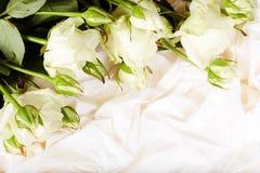 Weißrosenblumen auf weißem silk Hintergrund Stockfoto