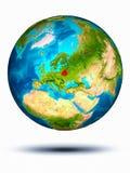 Weißrussland auf Erde mit weißem Hintergrund Stockbild