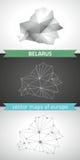 Weißrussland-Satz Grau und polygonale Karten des Silbermosaiks 3d Lizenzfreie Stockfotos