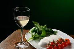 Weißwein u. caprese Lizenzfreie Stockfotos