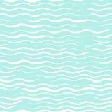 Weißwellen gezeichnet mit Kreide auf einem Türkishintergrund nahtlos Lizenzfreie Abbildung