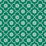 Weiß auf grünem Wiederholungsmusterhintergrund des Vereins und des Kreises nahtlosem stockfoto