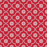 Weiß auf rotem Wiederholungsmusterhintergrund des Vereins und des Kreises nahtlosem lizenzfreie stockfotos