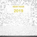 Weiße Marmortischplatte mit Zahl des guten Rutsch ins Neue Jahr 2019 auf Hintergrund stockfotografie