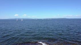 Wei?e Yachten segeln auf das blaue Meer stock video