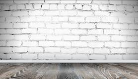 Wei?er Backsteinmauer- und Bretterbodenhintergrund Realistische Beschaffenheit der alten Maurerarbeit, Schmutzzusammenfassungs-Ha stock abbildung