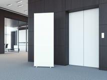 Weiß rollen Sie oben bunner in der modernen Bürolobby Wiedergabe 3d Stockbilder