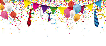 Weiberfastnacht Confetti Ribbons Ties Header. Header with confetti, festoons, ties and balloons for german carnival Stock Photography