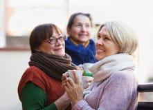 Weiblich, Tee auf Terrasse trinkend Lizenzfreie Stockfotos