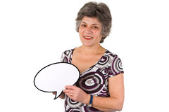 Weibliche ältere Frau mit Gedankenluftblase Stockfotos