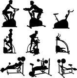 Weibliche Übungs-Schattenbilder Stockfoto