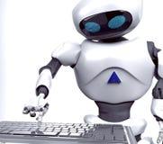 Weibliche Arbeit des Roboters über Notizbuch, Computer, 3d, übertragen vektor abbildung