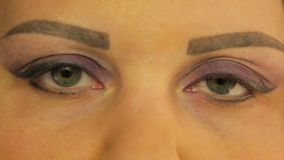 Weibliche Augen mit einem Make-up der dunklen lila Farbe stock video