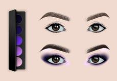 Weibliche Augen vor und nach Make-up ein Satz Lidschatten Stock Abbildung