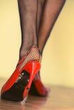 Weibliche Beine in den Fersen und in den Fischnetzen Stockbild