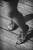 Weibliche Beine in den Nettostrümpfen Stockbilder