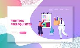 Weibliche Designer-Characters Choose Coloring-Palette auf Schirm für Offsetdruck in der Typografie, Werbeagentur, Polygraphy stock abbildung