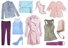 Weibliche eingestellte Collage der Frau Kleidung lokalisiert Stockfotografie