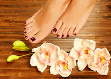 Weibliche Füße am Badekurortsalon auf Pedicureprozedur Stockbild