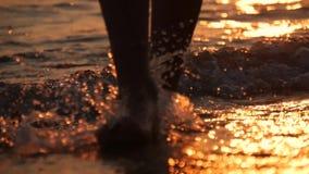 Weibliche Füße des Wanderertouristen barfuß gehend auf Ufer Die Beine der jungen Frau gehend entlang Ozean setzen auf den Strand  stock footage