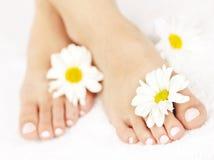 Weibliche Füße mit pedicure Stockbilder