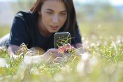 Weibliche Fotografie mit dem Smartphone, der ein Foto der Blume macht Lizenzfreie Stockfotografie