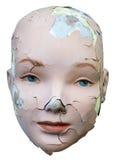 Weibliche Frau geknacktes Gesicht lokalisiert Stockfotografie