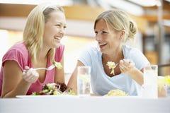 Weibliche Freunde, die zusammen am Mall zu Mittag essen Lizenzfreie Stockfotografie