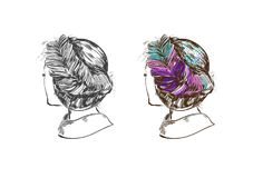 Weibliche Frisur Böhmisches Chic Vektorhand gezeichnete Abbildung lizenzfreie abbildung