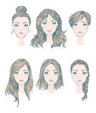 Weibliche Frisuren Stockfoto