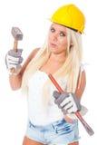 Weibliche Gebäudearbeit Lizenzfreies Stockbild