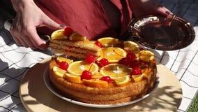 Weibliche geschnittene Torte mit Orangen f?r einen Ereignistag auf Picknick chacked llitter stock footage
