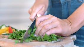 Weibliche Hände, die frische üppige Grünpetersilie für den strengen Vegetarier verwendet kochendes Berufsmesser hacken stock footage