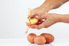 Weibliche Hände, die frischen Kartoffeln abziehen lizenzfreie stockfotos