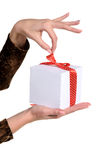 Weibliche Hände, die Geschenk halten stockbilder
