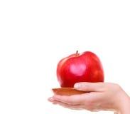Weibliche Hände, die gesunde Frucht des roten Apfels lokalisiert halten Stockfoto
