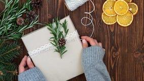Weibliche Hände, die Weihnachtsgeschenk halten Stockbilder