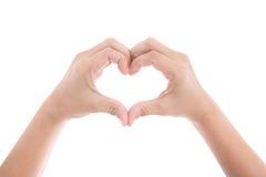Weibliche Hände in Form von dem Herzen lokalisiert Stockbild