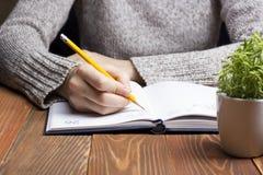 Weibliche Hände mit Bleistiftschreiben auf Notizbuch Lizenzfreie Stockbilder
