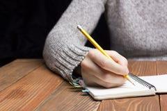 Weibliche Hände mit Bleistiftschreiben auf Notizbuch Lizenzfreie Stockfotos