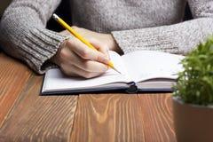 Weibliche Hände mit Bleistiftschreiben auf Notizbuch Lizenzfreie Stockfotografie