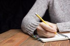 Weibliche Hände mit Bleistiftschreiben auf Notizbuch Stockbilder